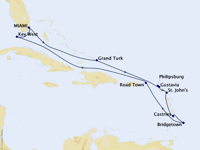 15-night Haute Caribbean Holidays Cruise Map