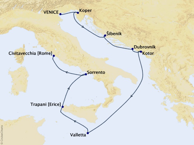 10-night Dalmatian Coast & Amalfi Voyage Map