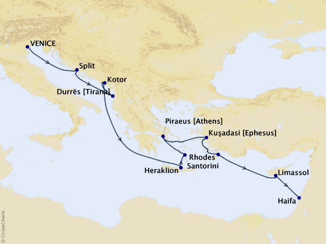 12-night Mediterranean Cruise Map