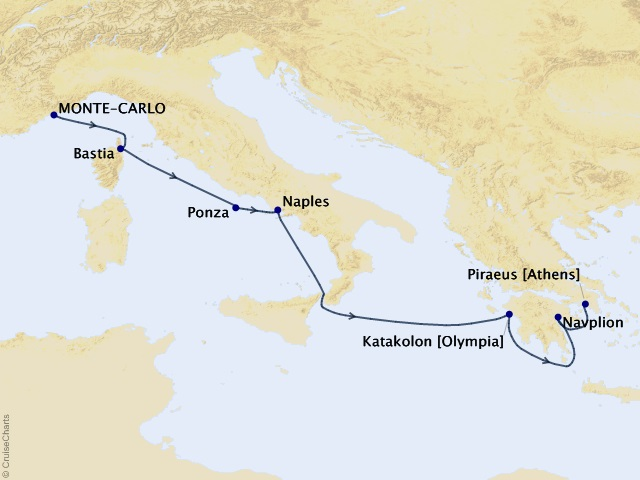 7-night Mediterranean Idyll Cruise Map