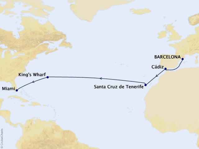 14-night Canary Island Crossing Cruise Map