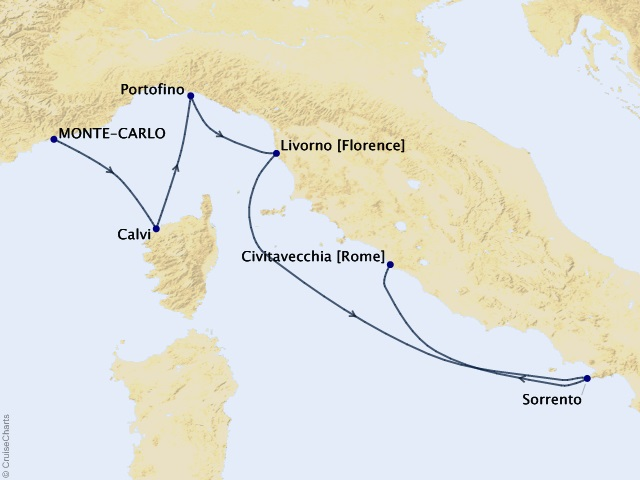 7-night La Dolce Vita Cruise Map