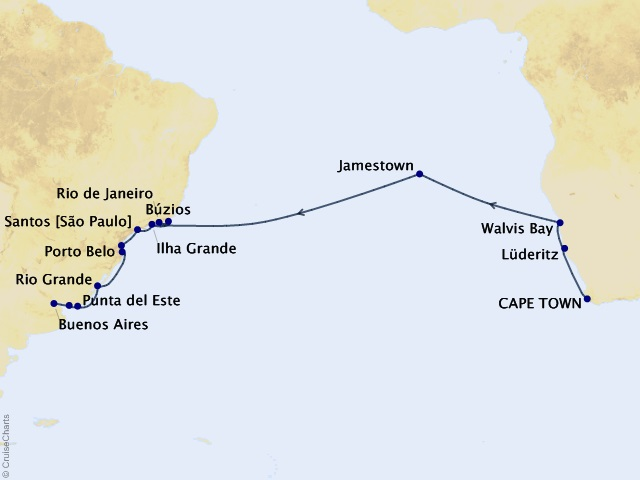 26-night Vintners & Vineyards Cruise Map