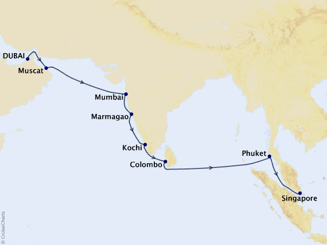15-night Best of India and Sri Lanka Cruise Map