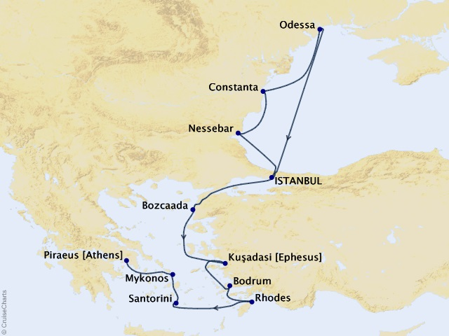 12-night Colossus to Parthenon Cruise Map
