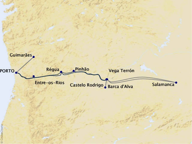 7-night Portugal, Spain, and the Douro River Valley Cruise Map