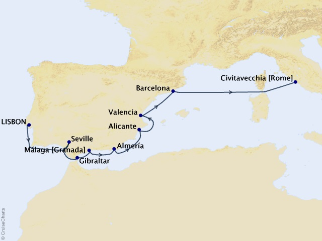 12-night Spain Intensive Voyage Itinerary Map