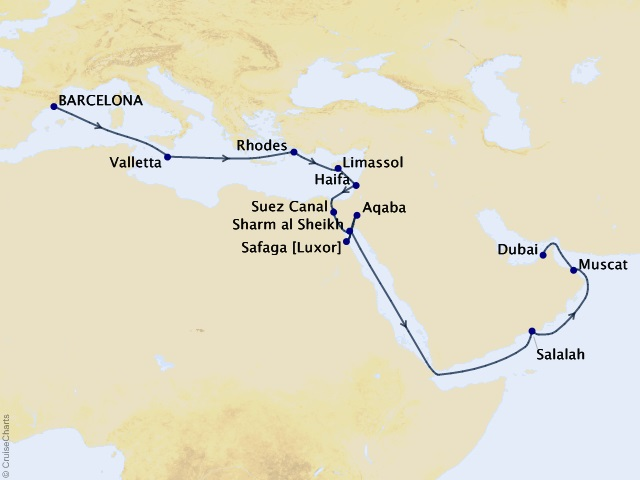 22-night Barcelona to Dubai Cruise Map