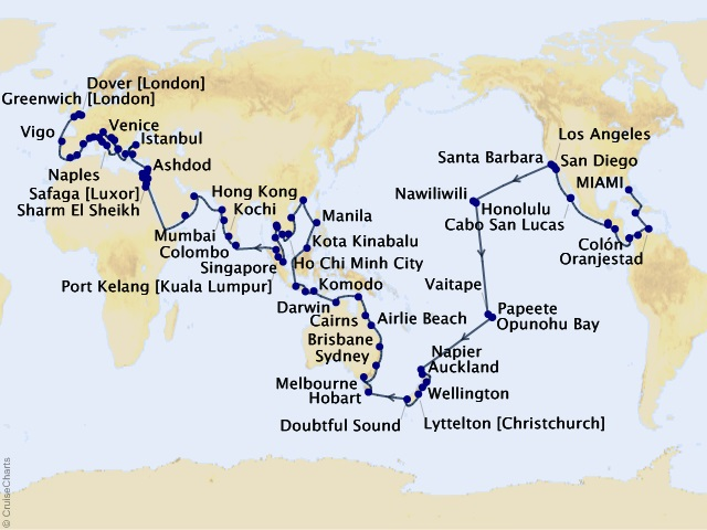 160-night 2020–2021 Viking World Cruise Map