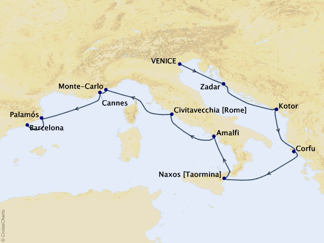 10-night Stunning Dalmatia & Cote D'Azur Cruise Map