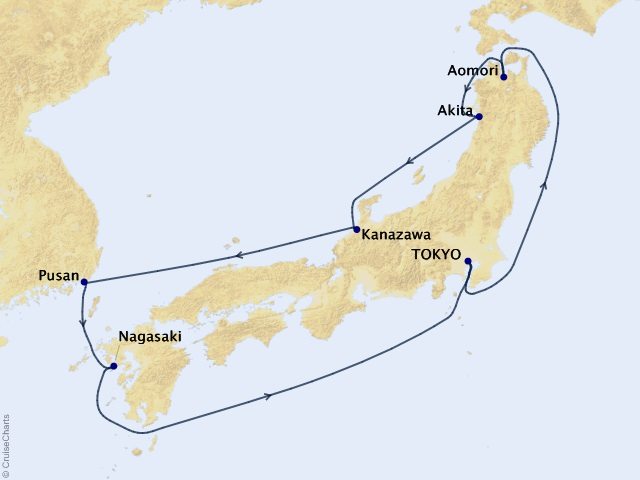 9-night Japan Circumnavigation Cruise Map