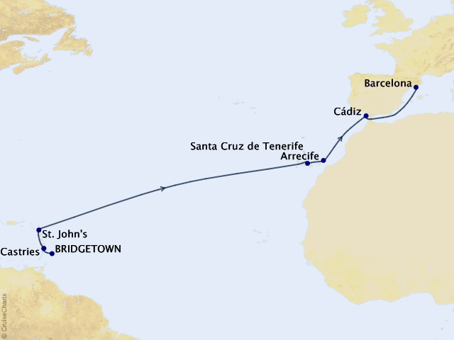 14-night Idyll Atlantic Voyage Itinerary Map