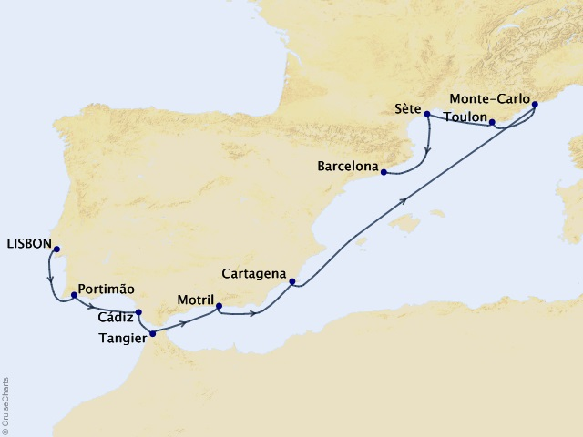 10-night Spain, Morocco, & the Rivieras Cruise Map