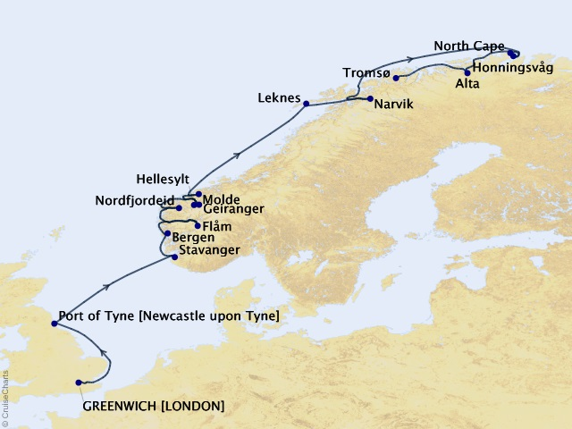 14-night Norway Cruise Map
