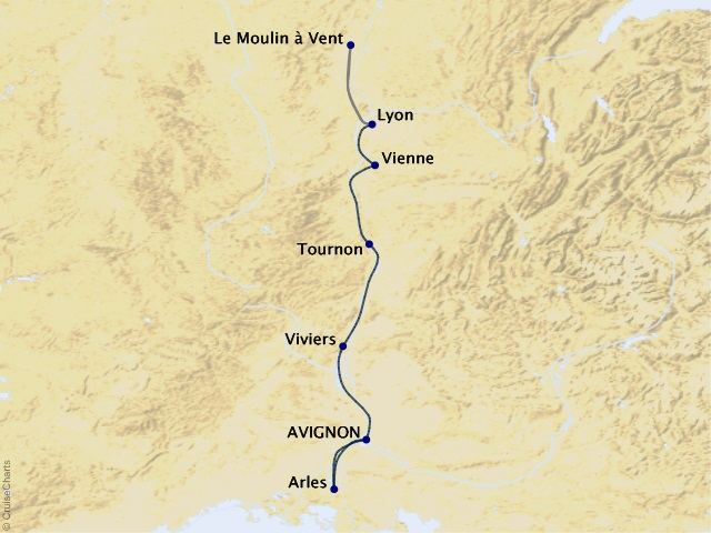 7-night Lyon & Provence River Cruise Map