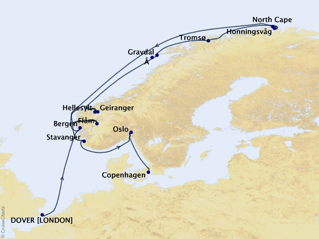 14-night North Cape Brilliance Cruise Map
