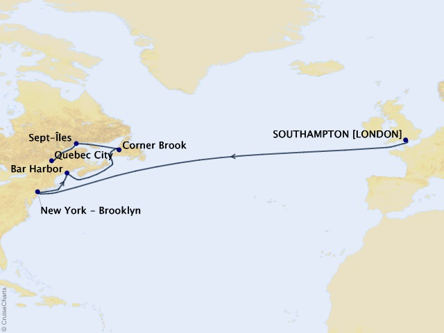 14-night Transatlantic, New England, & Canada Cruise Map