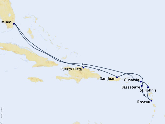 10-night Delightful Dominica & Beyond Cruise Map