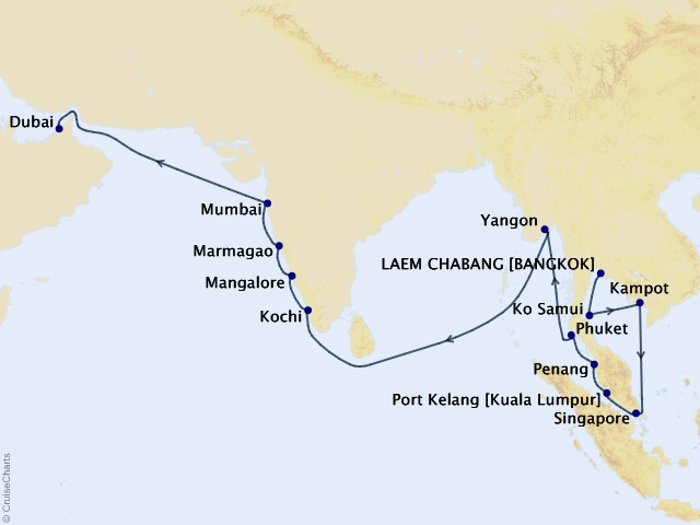 24-night Ultimate Asia Odyssey Cruise Map