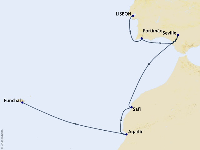 8-night North Africa Cruise Itinerary Map