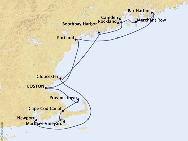10-night Grand New England Cruise Map