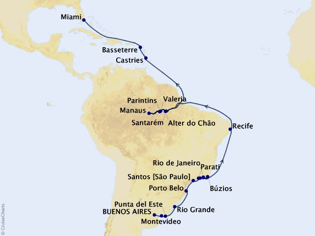 30-night Brazilian Adventure Cruise Map