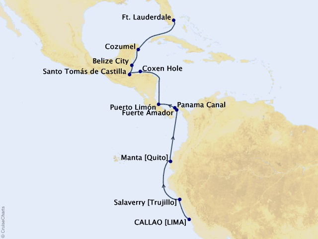 15-night South America Cruise Map