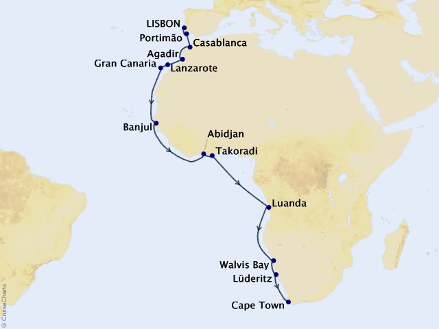 22-night Western Africa Journey Map