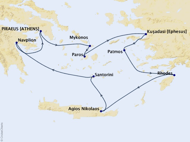 9-night Greece Intensive Voyage Map