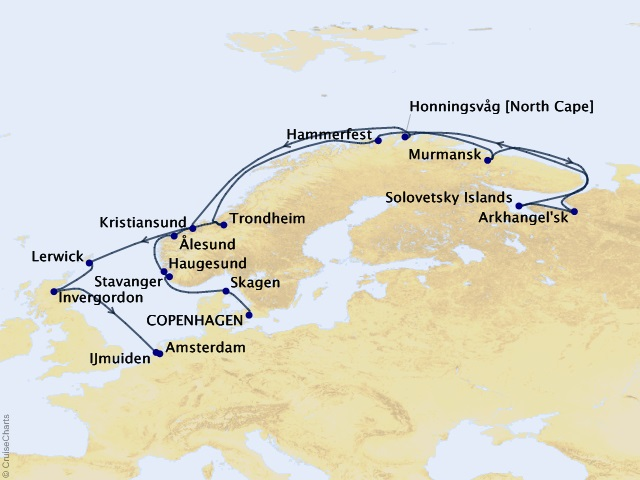 20-night Arctic Coasts, Cliffs, & Fjords Cruise Map