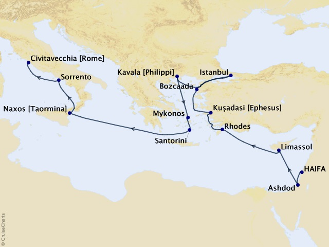 15-night Sacred Lands & Treasures Cruise Map