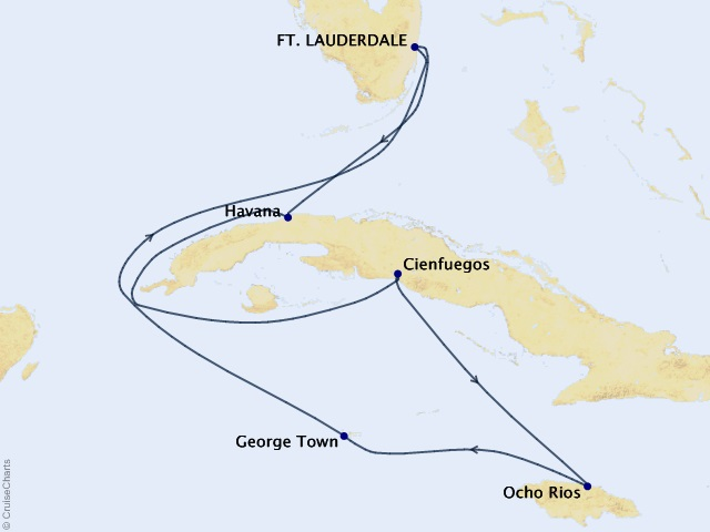 Authentic Cuba Cruise Map