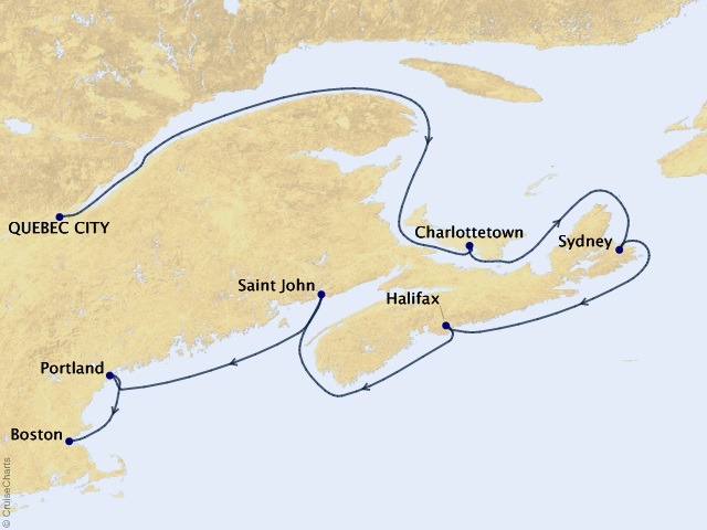 7-night Canada & New England Cruise Map