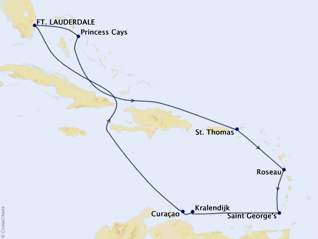 10-night Southern Caribbean Medley Cruise Itinerary Map