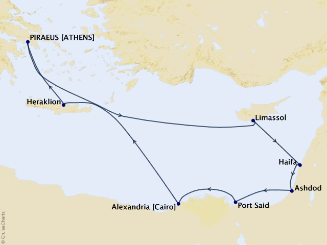 10-night Greece, Israel, and Egypt – Footsteps of Faith in the Holy Lands Cruise Map