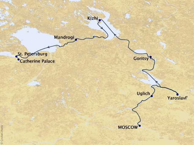 11-night Imperial Waterways of Russia Cruise Map