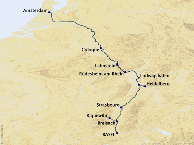 7-night Enchanting Rhine Cruise Map
