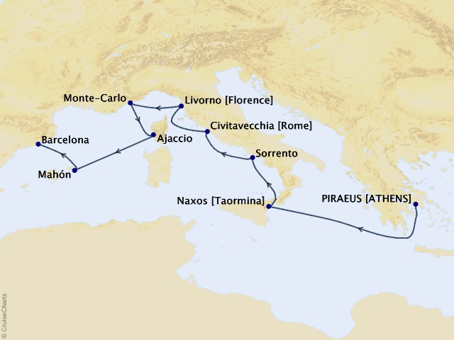 9-night Mediterranean Treasures Voyage Map