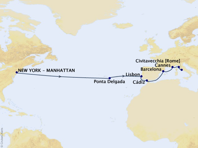 Portugal, Spain, France, and Italy – Transatlantic Treasures Cruise Map