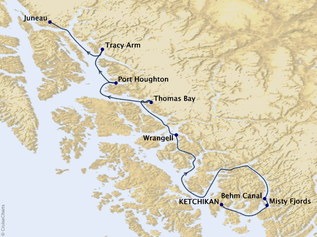 7-night Alaska Fjords & Glaciers Cruise Map