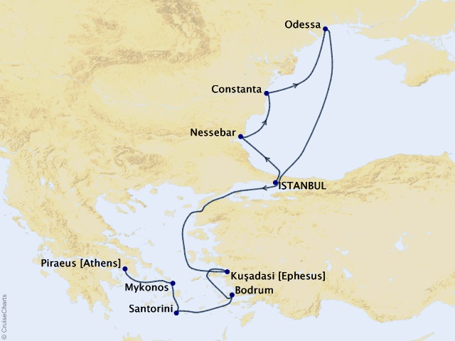 10-night Black Sea Brilliance Voyage Map
