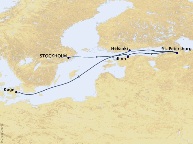 7-night St. Petersburg & the Baltic Cruise Map
