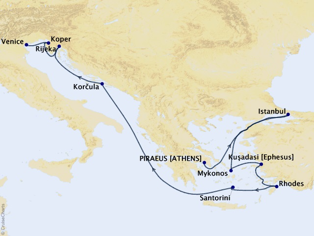 12-night Greece and Adriatic Antiquities Cruise Itinerary Map