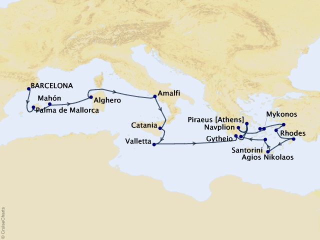 20-night Star Collector – Islands of Greece and Italy Cruise Map