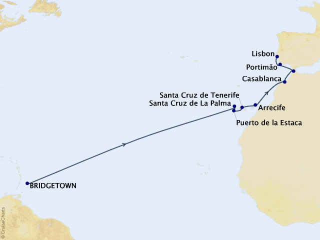 16-night Caribbean Sunsets and Atlantic Isles Cruise Map