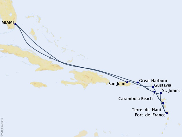 12-night Caribbean Gems Cruise Map