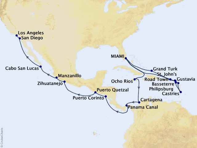 28-night Grand Journey – Caribbean and Panama Canal Cruise Map