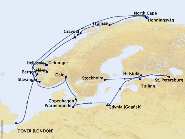 25-night Grand Journey – Norwegian Fjords & the Baltic Cruise Map