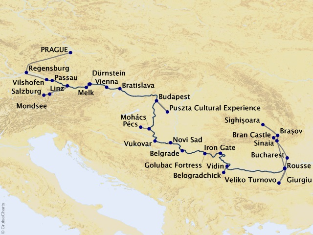 21-night Grand Danube Cruise/Land Package Map