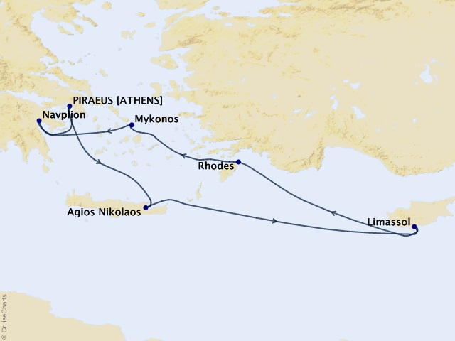 7-night Heart of the Aegean Cruise Map